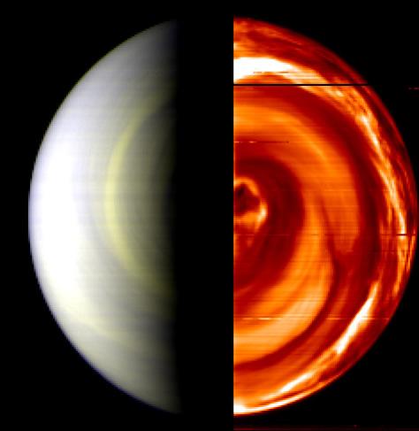 Este mosaico en falso color fue creado a partir de las observaciones realizadas el 12 de abril de 2006 por el instrumento VIRTIS (Espectrómetro de Imágenes Térmicas Visibles e Infrarrojas, por sus siglas en inglés) de la Venus Express, y es una de las primeras vistas del hemisferio sur de Venus. El vórtice oscuro que se puede apreciar casi directamente encima del polo sur del planeta es una estructura cuya existencia se sospechaba, pero no había podido ser confirmada hasta ahora, y se corresponde con una estructura de nubes similar sobre el polo norte de Venus. Créditos: ESA/INAF-IASF, Roma, Italia / Observatorio de París, Francia.