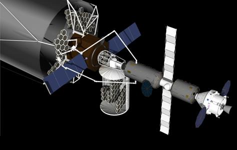 El supertelescopio espacial ATLAST (Advanced Technology Large Aperture Telescope, o Telescopio de Tecnología Avanzada y Gran Apertura) es una misión que la NASA está analizando para su posible lanzamiento a partir del año 2030. La imagen muestra uno de los conceptos en estudio, con un espejo segmentado de 14 a 20 metros de diámetro, y una nave tripulada Orion y un hábitat de espacio profundo acoplados al telescopio. Por su tamaño, ATLAST debería ser ensamblado por astronautas en el espacio. Créditos: NASA.
