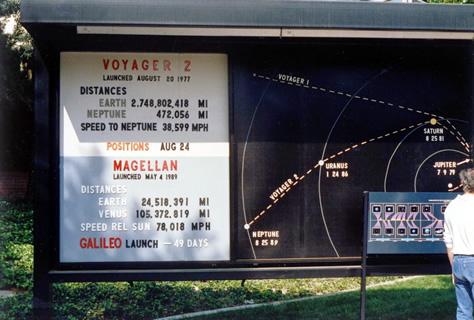 Una cartelera en el exterior del JPL (Laboratorio de Propulsión a Reacción, por sus siglas en inglés), el centro de la NASA encargado de dirigir la misión Voyager 2, mostraba la posición de la sonda el 24 de agosto de 1989, un día antes del sobrevuelo de Neptuno. Nótese también la información de las misiones Magellan a Venus y Galileo a Júpiter. Créditos: Dr. Paul Schenk.