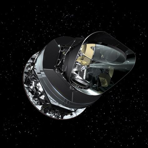 Representación artística del satélite Planck en el espacio. Créditos: ESA / Planck Collaboration.
