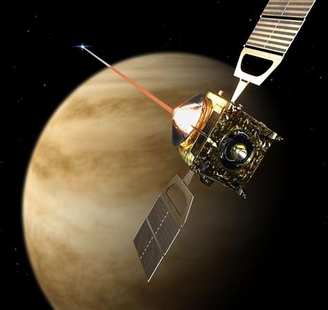 Representación artística de la sonda Venus Express observando la ocultación de una estrella por el limbo atmosférico de Venus. Mediante esta técnica, el instrumento SPICAV (Espectroscopio para la Investigación de Características de la Atmósfera de Venus, por sus siglas en inglés) detectó la presencia de gas ozono en la atmósfera venusiana, que absorbió parte de la luz ultravioleta procedente de las estrellas observadas. Créditos: ESA / AOES Medialab.