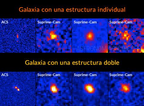 En la fila de arriba se aprecian imágenes en distintas longitudes de onda de una galaxia con una estructura individual. La primera imagen desde la izquierda corresponde a la cámara ACS del Telescopio Espacial Hubble, y las otras tres al instrumento Suprime-Cam del Telescopio Subaru operando en diferentes longitudes de onda. La segunda imagen desde la izquierda, obtenida en la longitud de onda del hidrógeno neutro, muestra la distribución espacial del gas ionizado por la radiación ultravioleta de numerosas estrellas masivas. Las dos imágenes de la derecha registran directamente la radiación ultravioleta de esas propias estrellas masivas. En la fila inferior, a modo de comparación, se muestran las imágenes de una galaxia con una estructura doble. El norte está arriba y el este hacia la izquierda. Cada lado de los mosaicos mide 10 centímetros, lo que equivale a unos 85.000 años luz a una distancia de 12.600 millones de años luz. Créditos de la imagen: Ehime University.
